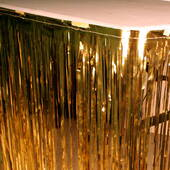 14' Gold Metallic Table Skirt