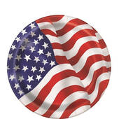 Red White And Blue American Flag Paper Plates - 7""