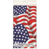 Red White And Blue American Flag Plastic Table Cover - Rectangle