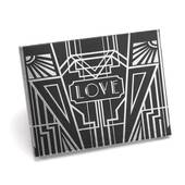 Art Deco Black Guest Book - Silver