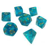 Chessex Borealis Teal With Gold Polyhedral 7 Dice Set