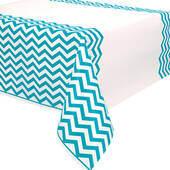 Caribbean Teal Chevron Plastic Table Cover - Rectangle