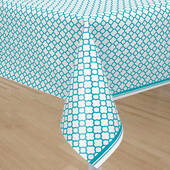 Caribbean Teal Quatrefoil Plastic Table Cover - Rectangle