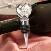 Chrome Bottle Stopper With Crystal Heart Design