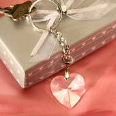 Chrome Key Chain With Crystal Heart