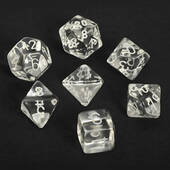 Chessex Clear With White Polyhedral 7 Die Set