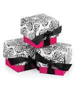 Fuchsia Filigree Ribbon Favor Boxes