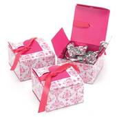Fuchsia Heart Flap Favor Boxes