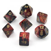 Chessex Gemini Black And Red With Gold Polyhedral 7 Dice Set