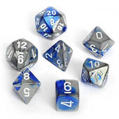 Chessex Gemini Blue Steel With White Polyhedral 7 Die Set