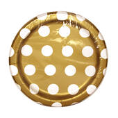 Gold Decorative Dots Paper Plates - 7""