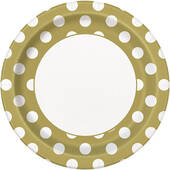 Gold Decorative Dots Paper Plates - 8 5/8""