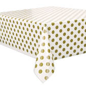 Gold Decorative Dots Plastic Table Cover - Rectangle
