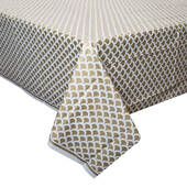 Gold Scallop Plastic Table Cover - Rectangle