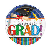 Graduation Stripes Paper Plates - 7""