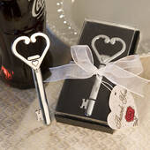 Heart Accented Key Bottle Opener Favors