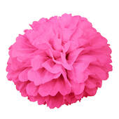 "Hot Pink 16"" Puff Ball Decoration"