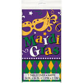 Mardi Gras Plastic Table Cover - Rectangle