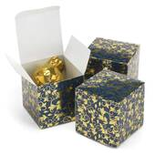 Navy And Gold Foil Patterned Boxes