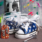 Oh-So-Cute Blue Star Print Baby Sneaker Key Chain