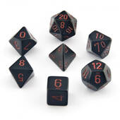 Chessex Opaque Black With Red Polyhedral 7 Die Set