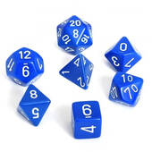 Chessex Opaque Blue With White Polyhedral 7 Die Set