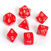Opaque Red With White Polyhedral 7 Die Set
