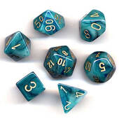 Phantom Teal With Gold Polyhedral 7 Die Set