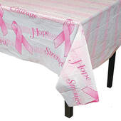 Pink Ribbon Plastic Table Cover - Rectangle