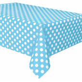 Powder Blue Dots Plastic Table Cover - Rectangle