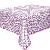 Purple Quatrefoil Plastic Table Cover - Rectangle