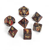 Scarab Blue Blood With Gold Polyhedral 7 Dice Set