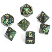 Scarab Jade With Gold Polyhedral 7 Die Set