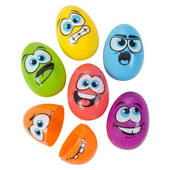 Silly Face Plastic Easter Eggs - 2 1/2""