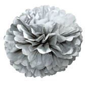 "Silver  16"" Puff Ball Decoration"