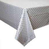 Silver Scallop Plastic Table Cover - Rectangle