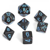 Speckled Blue Stars Polyhedral 7 Die Set