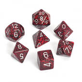 Speckled Silver Volcano Polyhedral 7 Dice Set