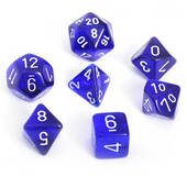 Translucent Blue With White Polyhedral 7 Die Set