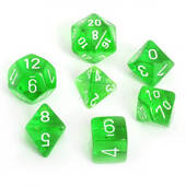 Translucent Green With White Polyhedral 7 Die Set
