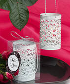 White Metal Filigree Design Luminary Favor