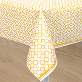 Yellow Quatrefoil Plastic Table Cover - Rectangle