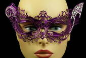 Purple Venetian Metal Mask With Side Gems