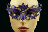 Blue Metal Venetian Crown Top Mask