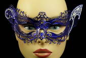Blue Venetian Metal Mask With Side Gems