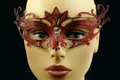 Red Metal Venetian Crown Top Mask