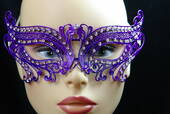 Purple Metal Venetian Birds Eye Mask