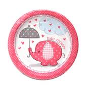 Baby Shower Girl Cake Plates - 7""