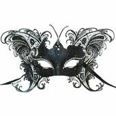 Black Deluxe Venetian Butterfly Metal Mask