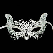 White Metal Venetian Cat Mask